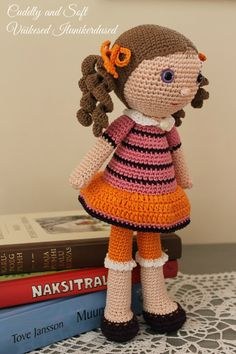 Unique doll art doll cute crochet doll amigurumi by #CuddlyandSoft