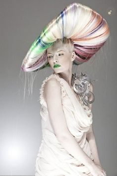 Wow, rainbow highlighted hair turned into a beautiful and crazy hat
