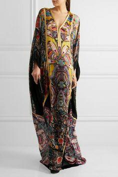 Roberto Cavalli - Metallic-trimmed Printed Silk-chiffon Maxi Dress - Purple - IT Kaftan Style, Caftan Dress, Chiffon Maxi Dress, Silk Chiffon, Hijab Fashion, Boho Fashion, Fashion Dresses, Fashion Looks, Pakistani Outfits