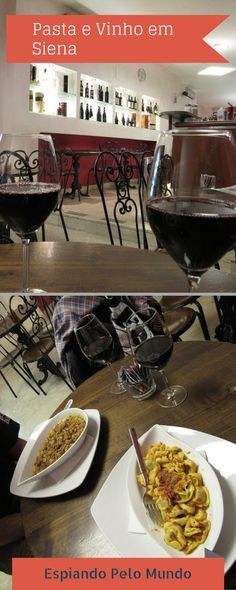 No Caffé l'Accademia em Siena na Itália, tivemos uma ótimo almoço com uma boa pasta e vinho