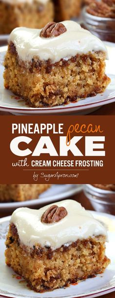 Pineapple Pecan Cake with Cream Cheese Frosting is simple and quick recipe for delicious, homemade cake from scratch, with ingredients that you already have in pantry. (cream cheese frosting for cookies) Just Desserts, Delicious Desserts, Yummy Food, Gourmet Desserts, Plated Desserts, Tasty, Food Cakes, Cupcake Cakes, Cake Recipes