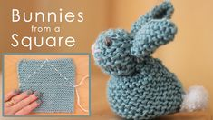 How to Knit an Easter Bunny from a Square with free Knitting Pattern and Video Tutorial by Studio Knit.