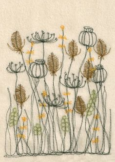 Embroidery Designs Natural Color Palette Floral Embroidery Inspiration - Sewing and Sowing in Central Scotland. Freehand Machine Embroidery, Free Motion Embroidery, Machine Embroidery Patterns, Embroidery Applique, Floral Embroidery, Cross Stitch Embroidery, Embroidery Designs, Garden Embroidery, Embroidery Needles