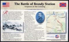 Closeup of the Surprises at the Crossing wayside marker is on the Civil War Trust's Buford's Knoll Walking Trail on the Brandy Station Battlefield