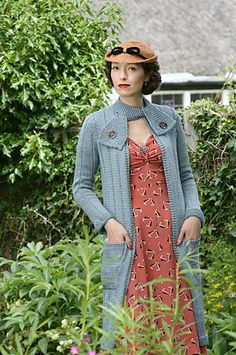 Swagger Coat by Susan Crawford. Book: A Stitch In Time: Vintage Knitting Patterns, 1939-1959 vol. 2 This coat has featured in The King's Speech (worn by the wife of the speech therapist), and in the TV series of Miss Marple. The coat is designed to be worn open at the front.