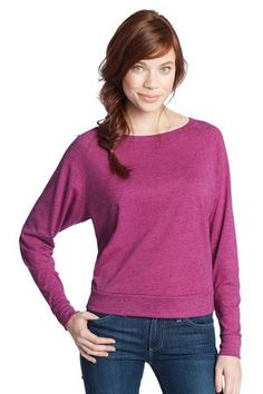 District - Juniors Textured Wide Neck Long Sleeve Raglan Style DT272 #pink #raspberry #textured #boatneck #top #tee #shirt #long #sleeves