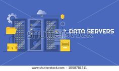 Data server, Internet server, Web Hosting, Security, Cloud data storage flat line vector isolated on blue background Cloud Data, Domain Hosting, Blue Backgrounds, Royalty Free Images, Internet, Clouds, Stock Photos, Flat, Marketing
