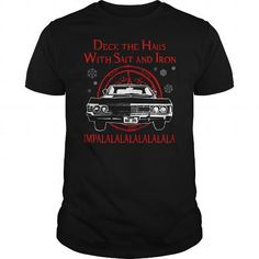 Supernatural  Deck the hails with sait and iron impla tshirt