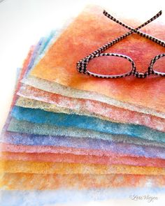 when i first read becky shander's dryer sheet article that was published in the premier issue of art quilting studio magazine (july, Mixed Media Techniques, Art Techniques, Mix Media, Paper Art, Paper Crafts, Diy Paper, Diy Crafts, Card Making Techniques, Card Tutorials