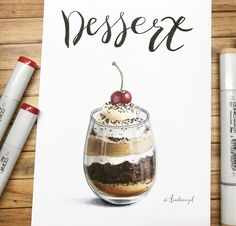 18 ideas for cake drawing sketch Copic Marker Drawings, Sketch Markers, Doodle Drawings, Copic Markers, Cake Drawing, Food Drawing, Food Art Painting, Gouache Painting, Food Sketch
