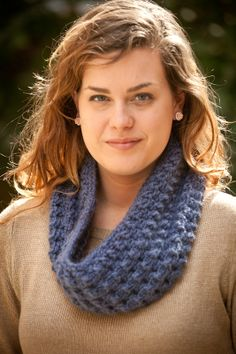 French Blue Chunky Single Loop Scarf