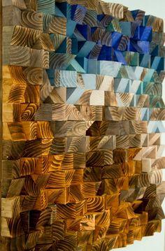 "Reclaimed Wood wall Art, wood mosaic, geometric art 30""x 30"", wood wall art…"
