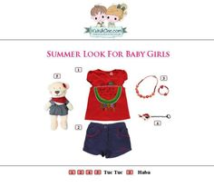 #Summer #look for #girls from #TucTuc #Haba.  Check at www.kidsandchic.com/girl    #girlsclothing #girlsfashion #kidsfashion #trendychildren #kidsclothing #shoppingbarcelona #tshirts #shorts #toys #knickers #dummychain #yewerly