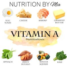 Nutrient Series: Vitamin A - Nutrition By Mia Healthy Diet Tips, Healthy Life, Healthy Eating, Healthy Recipes, Health And Nutrition, Health And Wellness, Health Facts, Vitamin Rich Foods, Grass Fed Butter