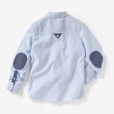Camisa a rayas con coderas 3-12 años R kids Stylish Boys, Stylish Shirts, Casual Shirts, Toddler Outfits, Boy Outfits, Moda Junior, Baby Boy Dress, White Shirt Men, Kids Clothing Brands