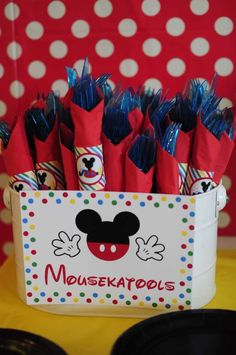 Mousekatools Sign and Napkin Wrappers - Josh's 3rd Mickey Mouse Clubhouse Celebration   CatchMyParty.com