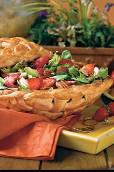 Strawberry-Chicken Salad - 68 Quick and Delicious Summer Salads - Southernliving. A festive basket made from refrigerated breadstick dough turns this simple-to-fix salad into a showstopping centerpieceRecipe: Strawberry-Chicken Salad