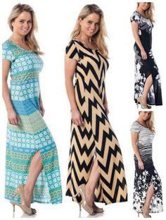 Women's Short Sleeve Floor Length Maxi Dress
