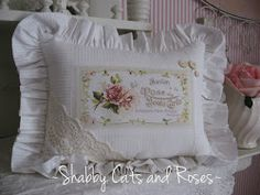 Shabby Cats and Roses: Teacup Tuesday and New Pretty Pillows Lace Button, Sewing Pillows, Rose Cottage, Vintage Lace, Accent Pillows, Pink Roses, Tea Cups, Shabby Chic, Valentines