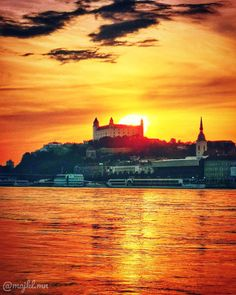 Sunset over Bratislava, Slovakia - Beautiful places for vacation and trip. Photo S, Monument Valley, New York Skyline, Travel Photography, Beautiful Places, Bratislava Slovakia, Castle, Europe, Vacation