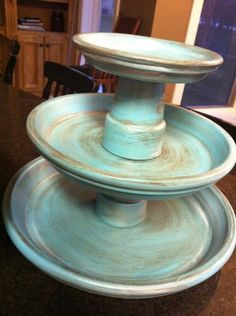 Terracotta pot + saucer stand...use for food or favor display
