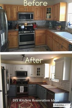4 Quick ideas: Old Kitchen Remodel Small farmhouse kitchen remodel legs.Mobile Home Kitchen Remodel Diy kitchen remodel wall removal upper cabinets.Mid Century Kitchen Remodel Before After. Kitchen Makeover, Kitchen Decor, Kitchen Remodel Small, Kitchen Diy Makeover, Sweet Home, Cheap Kitchen Makeover, Diy Kitchen, Kitchen Renovation, Kitchen Design