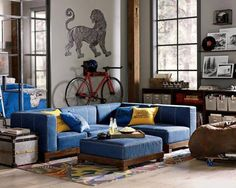 Pottery Barn Teenu0027s Denim Cushy Lounge sectional collection ($67.99-$999) is a modern : pb teen sectional - Sectionals, Sofas & Couches