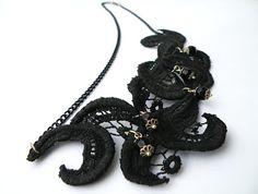 Black Lace Vintage Necklace Statement Jewelry Hand by SteamyLab, $90.00