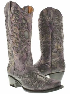 COWGIRL STYLE BOOTS Distressed Purple GENUINE LEATHER with Angel Wing Heart Inlay Western Boots
