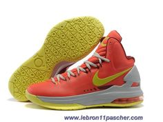 quality design 4c667 586be Pas cher Nike Zoom KD V Rouge Gris Jaune Chaussures Hommes
