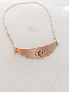 Monogram Scallop Bib Necklace Personalized by SoulCysterCreations