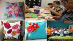 HACER HERMOSOS COJINES CON FIELTRO Free Pattern, Napkins, Gift Wrapping, Tableware, Silk Ribbon Embroidery, Ribbons, Vestidos, Bottle Caps, Aluminum Cans