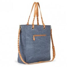 Chambray blue canvas tote bag with braided shoulder straps