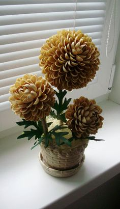 Pistachio shell craft - Pista shell flower vase