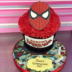 See 2 photos from 6 visitors to Cupcake Couture. Giant Cupcake Cakes, Cupcake Couture, Spiderman, Birthday Cake, Superhero, Character, Decorating Cakes, Spider Man, Birthday Cakes