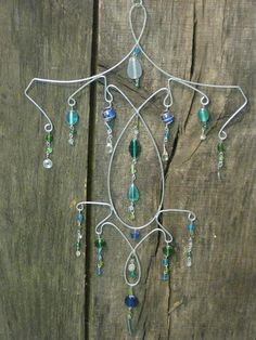 Wire and Bead Suncatcher Mobile - Blue and Green by MagicMoonMavis, $17.00 USD