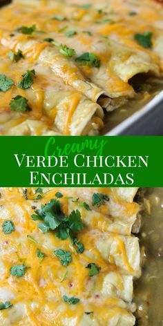 Verde Chicken Enchiladas are super easy to make for dinner! Full of chicken onions cilantro black beans and cheese mixed in a creamy sauce rolled in easy to use flour tortillas and smothered in verde enchilada sauce and cheese. Easy Enchilada Recipe, Green Enchilada Sauce, Enchiladas Mexicanas, Chicken Enchiladas Verde, Skinny Enchiladas, Bean And Cheese Enchiladas, Healthy Chicken Enchiladas, Mexican Enchiladas, Salads