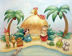 Hawaiian Tiki Nativity by amithystblade