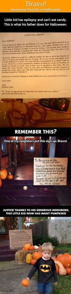 Bravo! Awesome parents in Halloween.>Little kid has epilepsy and can't eat candy. This is what his father does for Halloween.