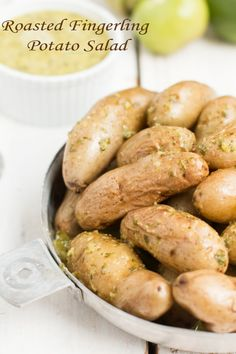 the dressing on this roasted fingerling potato salad is amazing! ohsweetbasil.com