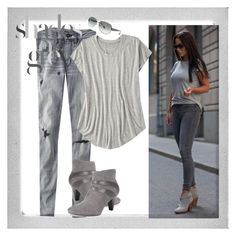 """Grey"" by karen-bachman ❤ liked on Polyvore featuring American Eagle Outfitters, Karen Scott and Polaroid"