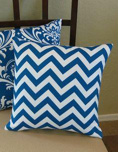 Outdoor Caribbean Blue Chevron Zig Zag Pillow Cover. $15.95, via Etsy.