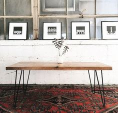 Mid Century Reclaimed Coffee Table with Hairpin Legs Rustic Industrial, Rustic Wood, Reclaimed Wood Coffee Table, Mid Century Coffee Table, Modern Coffee Tables, Dining Room Chairs, Living Spaces, Living Room, Hairpin Legs