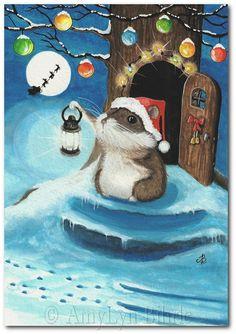 Santa's Sleigh Lil Hamster Christmas – ArT Prints by BiHrLe - Weihnachten Christmas Canvas, Christmas Paintings, Christmas Art, Christmas Cookies, Etsy Christmas, Illustration Noel, Christmas Illustration, Illustrations, Christmas Scenes