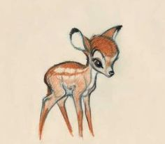 Bambi sketch - I'd want it just like this, so it looks like someone drew on my skin with a colored pencil