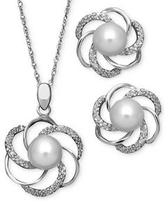 Sterling Silver Jewelry Set, Cultured Freshwater Pearl and Diamond Accent Swirl Pendant and Earrings - Necklaces - Jewelry & Watches - Macy's