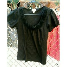 Black Ann Taylor Loft top Black top with flower detail  Brand: Ann Taylor Loft Size: M  The pictures make it seem faded. It's not. It's solid black, in perfect condition. NWOT. Ann Taylor Tops