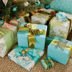 Mix simple, solid-colored paper with artisan prints, and don't worry about a single one of them being Christmas paper. Then, attach vintage ornaments and pinecones to packages to make them work with your other decorations.