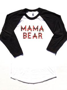 "Raglan ""Mama Bear"" Plaid Ink"