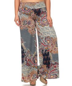 Look what I found on #zulily! Navy Paisley Palazzo Pants - Plus #zulilyfinds